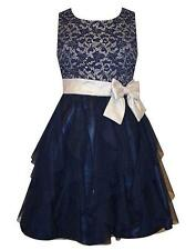 New Girls Bonnie Jean 10 Navy Silver Lace Cascade Ruffle Dress Christmas Holiday
