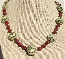 Neiger Uranium Roses Necklace Czech Art Deco Red Bicone pressed glass beads