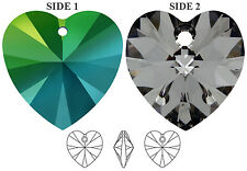 2 SWAROVSKI CRYSTAL XILION GLASS HEART PENDANTS 6228, SCARABAEUS GREEN, 10 MM
