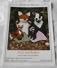 Foxy and Badger knitting pattern / Instructions to make Glove Puppets knitwitzuk