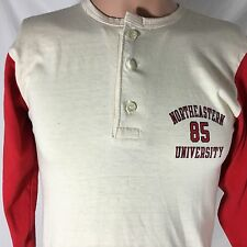 Vintage 80s Northeastern University 3/4 Sleeve T-Shirt M College 3 Button 50/50