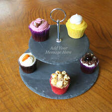 PERSONALISED 2 TIER NATURAL SLATE CAKE STAND MAKES A GREAT GIFT