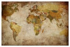 World Map Stretched Canvas Print Framed Wall Art Home Office Dec Vintage Poster