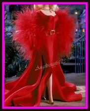 Red hollywood cast party red Barbie gown dress fits model muse silk stone