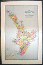 1888 Pic Atlas Large Antique Map of the North Island of New Zealand
