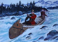 Canadian Mountie RCMP Canoe on white water