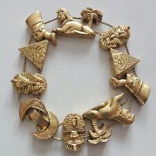 Vintage 50s Gold Tone Pharaoh Egyptian Revival One Row Slide Charm Bracelet