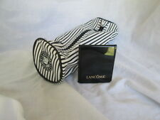 New Lancôme Small Cosmetic Makeup Bag Black & White Stripes W/ Compact Mirror