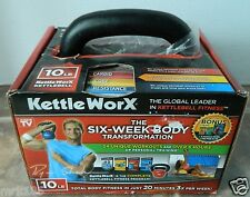 KettleWorx 10 lb Kettlebell + 6 DVD Fitness Workout Program NEW