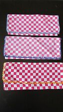 SET 3 VINTAGE FRENCH BISTRO COTTON CAFE CHECK SEWING POUCHES EXC COND