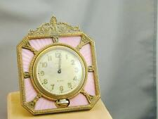 Antique Ornate Pink Guilloche Enamel & Metal Elgin 8 Day Clock SPECTACULAR