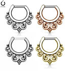 1pc Tribal Swirls Design Septum Clicker 316L Surgical Steel 14g or 16g Nose Ring