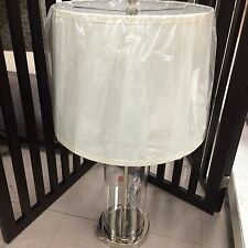 (2) RALPH LAUREN PAYTON SILVER CLEAR GLASS CYLINDER TABLE LAMPS ~New~
