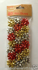 20 x Mini Christmas Birthday Gift Bows Wrapping Present Red Gold Silver Metallic