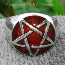 Ruby Red Tantra Wicca STERLING SILVER PENTAGRAM PENTACLE MEN'S BRONZE POWER RING