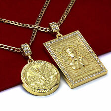 "14K Gold Plated St Steel Chain 24""/30"" Malverde/Centenario  Pendants Set 56/64"