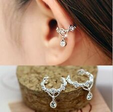 Fashion Women Ear Cuff Wrap Rhinestone Crystal Clip On Earring Jewelry Silver