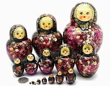 Russian nesting doll BLACK GOLD MAGENTA HAND PAINTED Matryoshka 15 Chamova