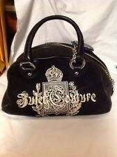 Juicy Couture Small Purse Black Velvet Velour Embroidered Mint Nice