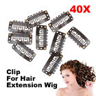 40 PCS 32mm Brown U Shape Snap Metal Clips for Hair Extensions Weft Clip-on Wig