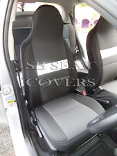 MITSUBISHI PAJERO CAR SEAT COVERS ANTHRACITE CLOTH+WHITE LEATHERETTE TRIM
