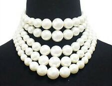 Adjustable Five Layer Cream Pearl Beaded Choker Necklace