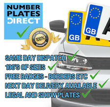 QUALITY PAIR NUMBER PLATES 100% ROAD LEGAL & MOT COMPLIANT CAR VAN MOTORHOME