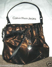 Calvin Klein Women Handbag New with Dust bag Leather Bronze Metallic