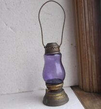 1890s ORIGINAL SOLID BRASS SKATER'S LANTERN WITH AMETHYST PURPLE GLASS GLOBE