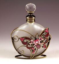 NEW BURGUNDY PINK BUTTERFLY FLORAL DECORATIVE FROSTY GLASS PERFUME BOTTLE