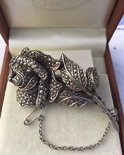 Vintage 1950's  Rose With Marcasite Brooch Pin