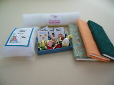 Dollhouse miniatures handcrafted sewing tray,fabric bolts, batting,bag fiberfill