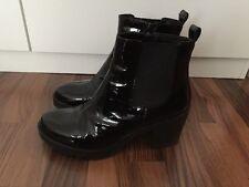 Vagabond 'Grace' Black Patent Leather LACQUER CHELSEA ANKLE BOOTS EU 40, UK 7