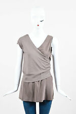 Brunello Cucinelli Brown Crepe Ribbed Layered Asymmetrical Sleeveless  Top