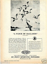 1949 Print Ad of Du Pont Sporting Powders A Flock Of Mallards Hans Kleiber