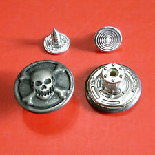 12 NO-SEW Metal Halloween Skull Cross Bone Tack Snap Jeans Buttons 16.5mm G189