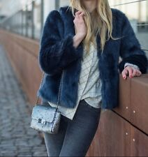 ZARA Navy Blue Blue Short Faux Fur Jacket Coat Small S