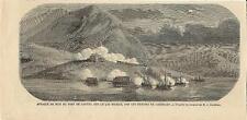 Stampa antica BATTAGLIA di LAVENO GARIBALDINI sul Lago Maggiore 1859 Old print