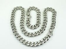 MENS CURB CUBAN HEAVY CHAIN NECKLACE BRACELET SET 15mm STAINLESS STEEL unbrended
