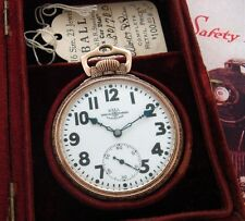 RARE 16 Size 23j Ball-Illinois Railroad Pocket Watch w/Box, Papers - SERVICED