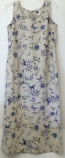 R.J. and Co. Flax Tan Summer Floral Butterfly Long Tank Dress 10P Made in USA