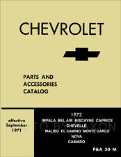 1972 Illustrated Master Parts Book El Camino Chevelle Monte Carlo Camaro Nova 72