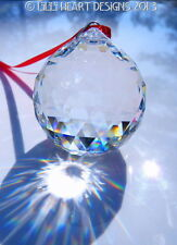 Swarovski Crystal Finest Ball 40mm Red Ribbon Feng Shui Ready to Hang SunCatcher