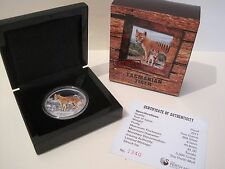 2011 TUVALU Endangered & Extinct: $1 TASMANIAN TIGER 1oz SILVER PROOF COIN