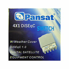 PANSAT 4x1 DiSEqC 2.0 Weather Weatherproof Cover Switch 4X1WC Satellite FTA LNB