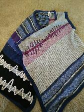 Women's Chico's Sweater Patchwork Detailed Purple Blue Black Wrap Poncho GREAT S