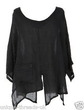 CUT SLASH LAGENLOOK QUIRKY LINEN POCKET TOP LAYERING BOHO ONE SIZE 12-22 - BLACK