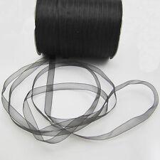 """NEW 50 Yards 3/8"""" Sizes Satin Edge Sheer Organza Ribbon Bow Craft  Black Colors"""