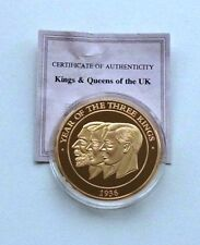 Year Of The Three Kings 40mm 2009 Gold Plated Medal Coin With COA   #