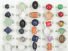 Wholesale lots jewelry 10pcs Big assorted Natural Gemstone Silver P ring FREE US